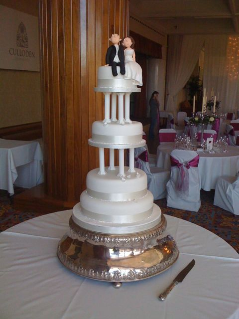Four Tier Wedding Cake with 5 inch Pillars