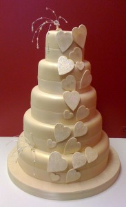 Five tier Heart Wedding Cake