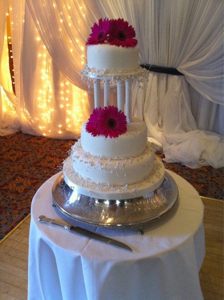 Three Tier pearl wedding cakes with Flowers